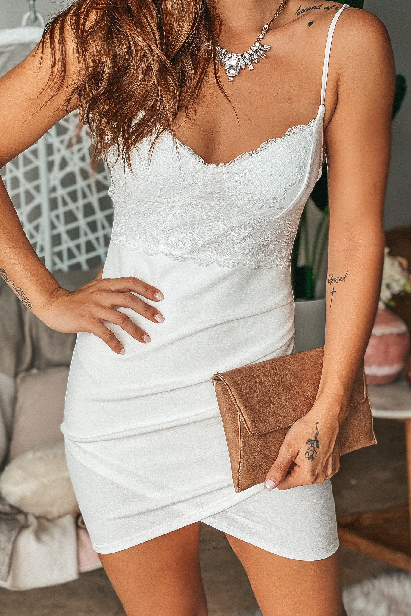 Ivory Short Dress with Lace Detail and Ruched Side