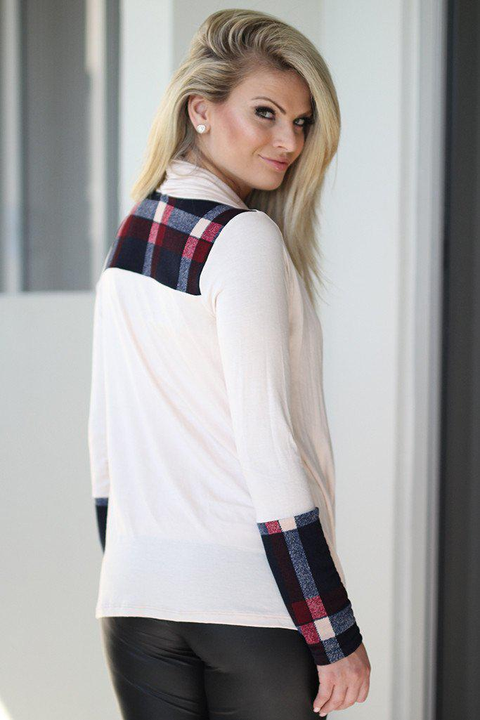 Ivory And Navy Plaid Wrap Top