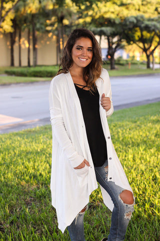 Ivory Asymmetrical Cardigan with Pockets