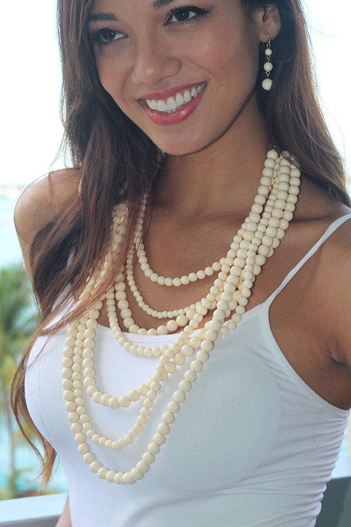 Ivory Necklace And Earrings Set