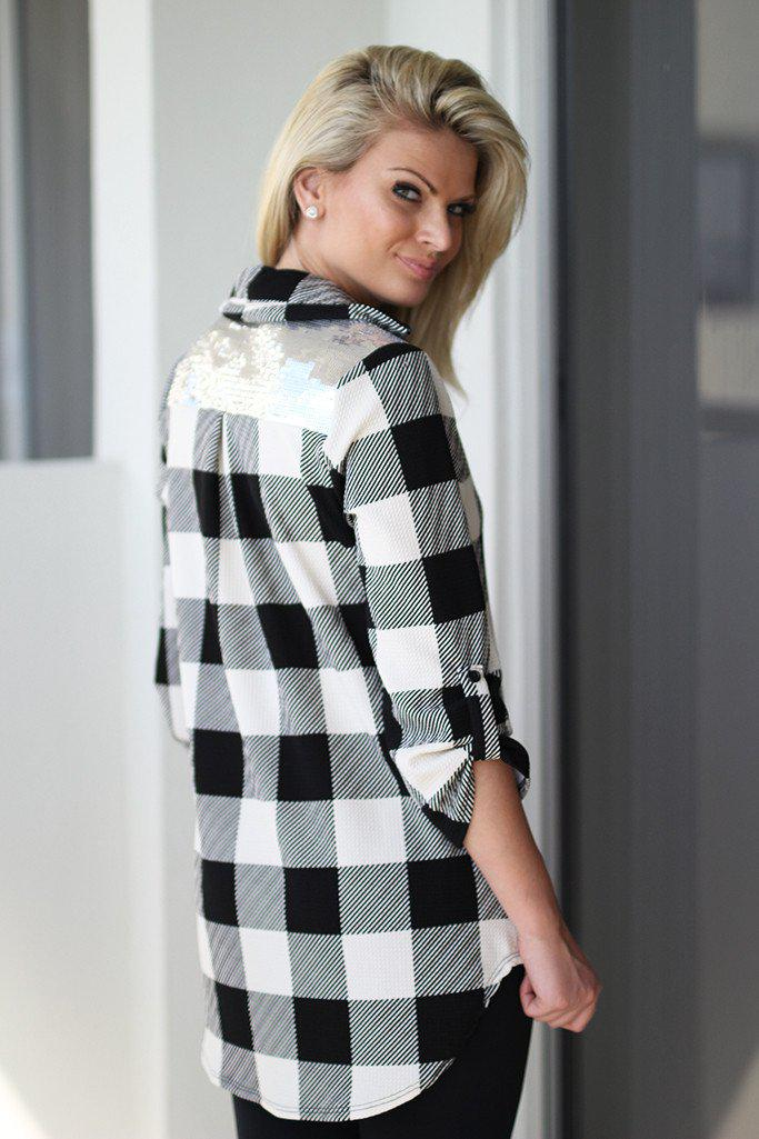 Ivory and Black Plaid Top with Sequin