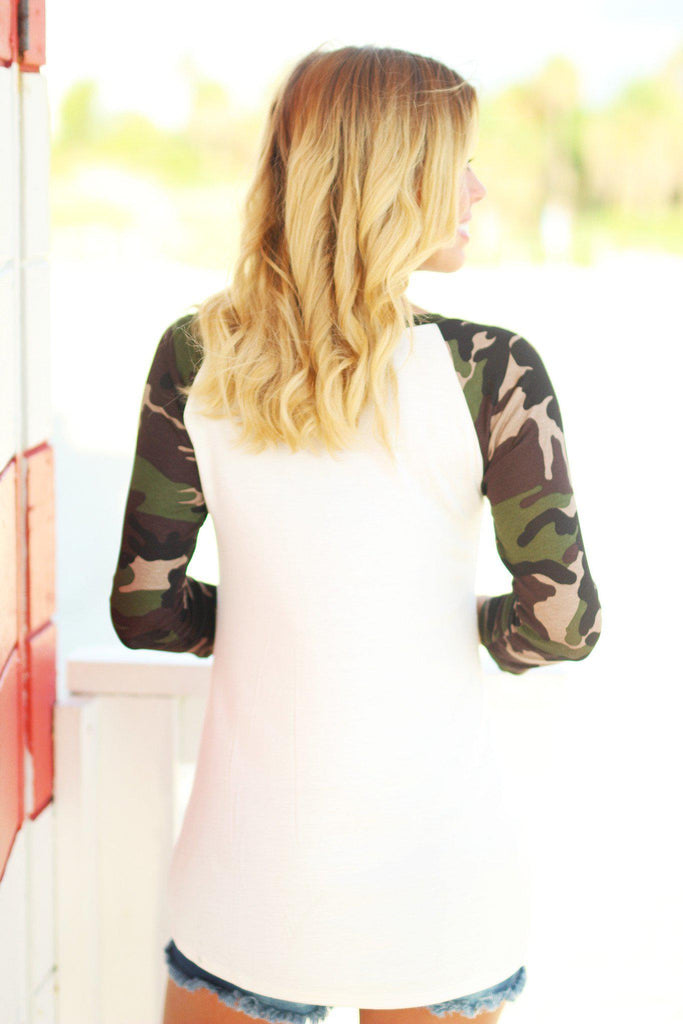 Ivory Camo Top with Sequined Pocket