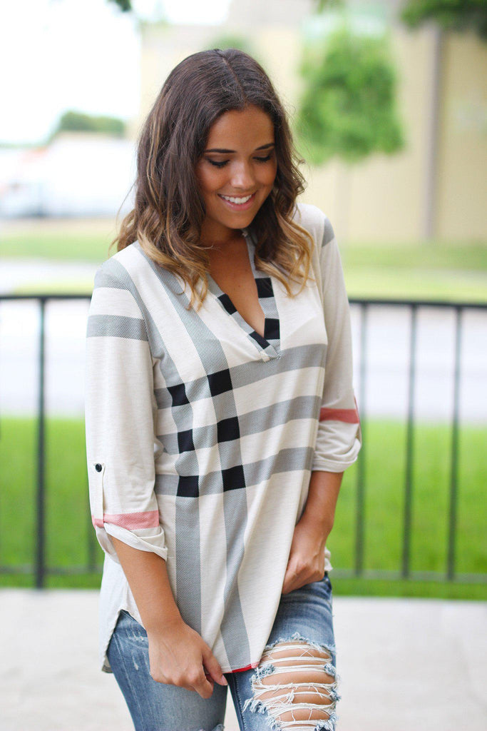 Ivory Check Print 3/4 Sleeve Top