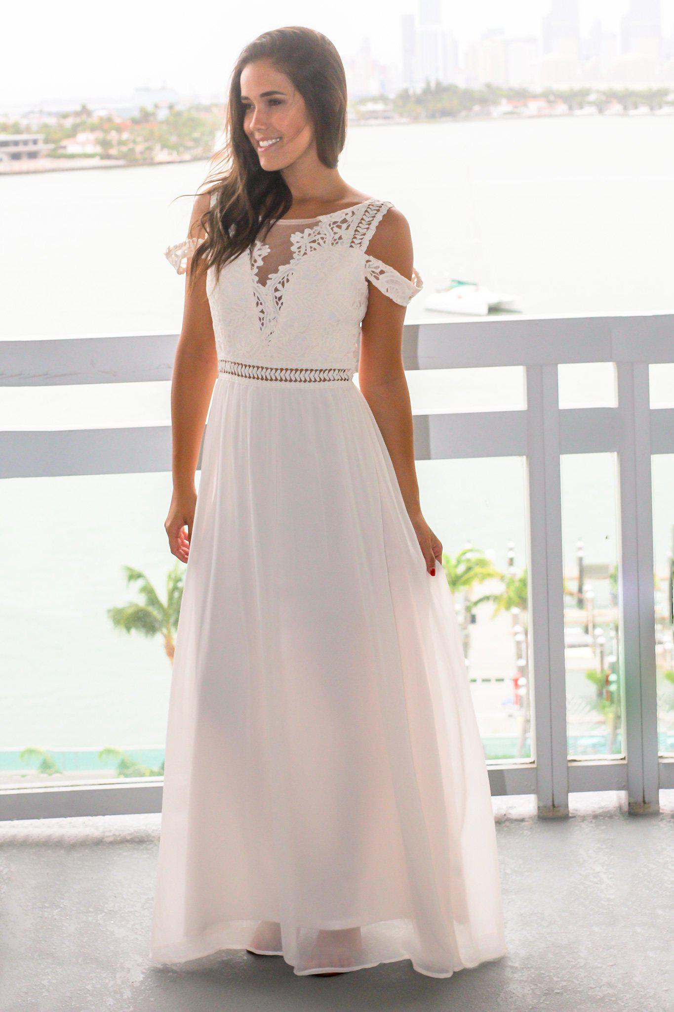 de46876f40 Ivory Cold Shoulder Maxi Dress with Crochet Top | Maxi Dresses – Saved by  the Dress