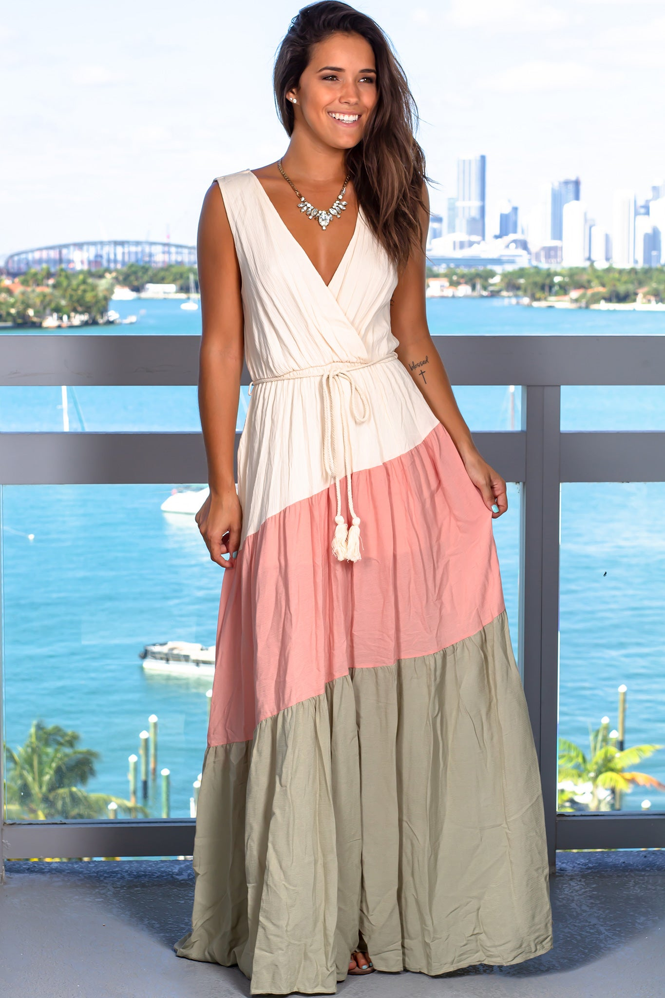 Ivory Color Block Maxi Dress with Tied Waist