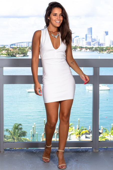 Ivory Criss Cross Back Short Dress