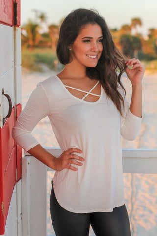 Ivory Criss Cross Top with 3/4 Sleeves