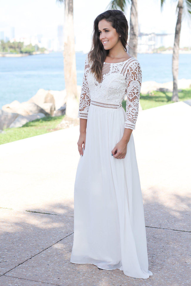 Ivory Crochet Maxi Dress with 3/4 Sleeves