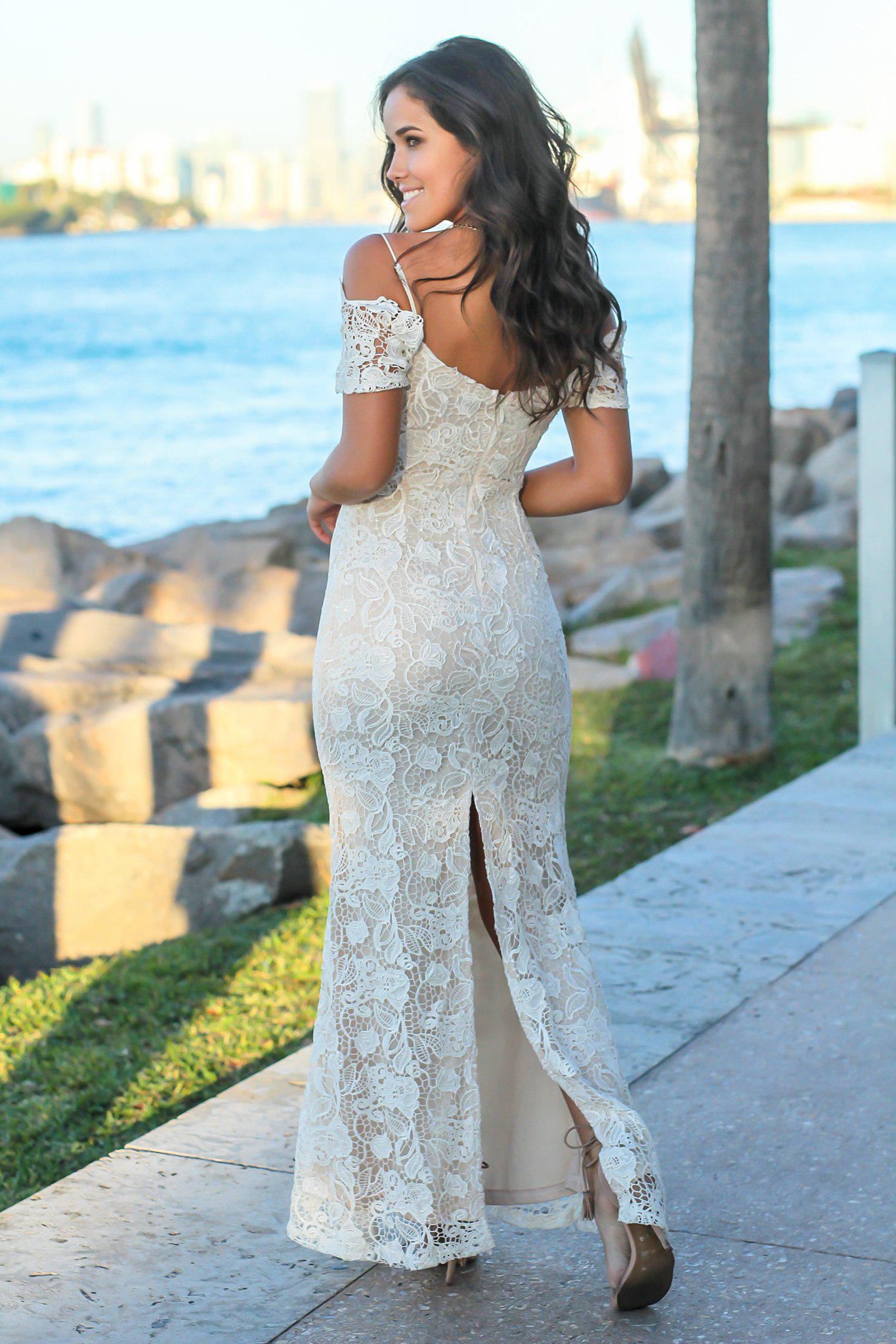 Ivory Crochet Maxi Dress with Gold Detail