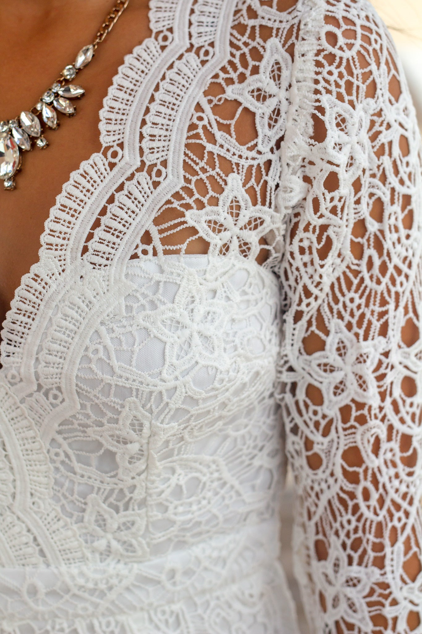 Ivory Crochet Short Dress with Long Sleeves