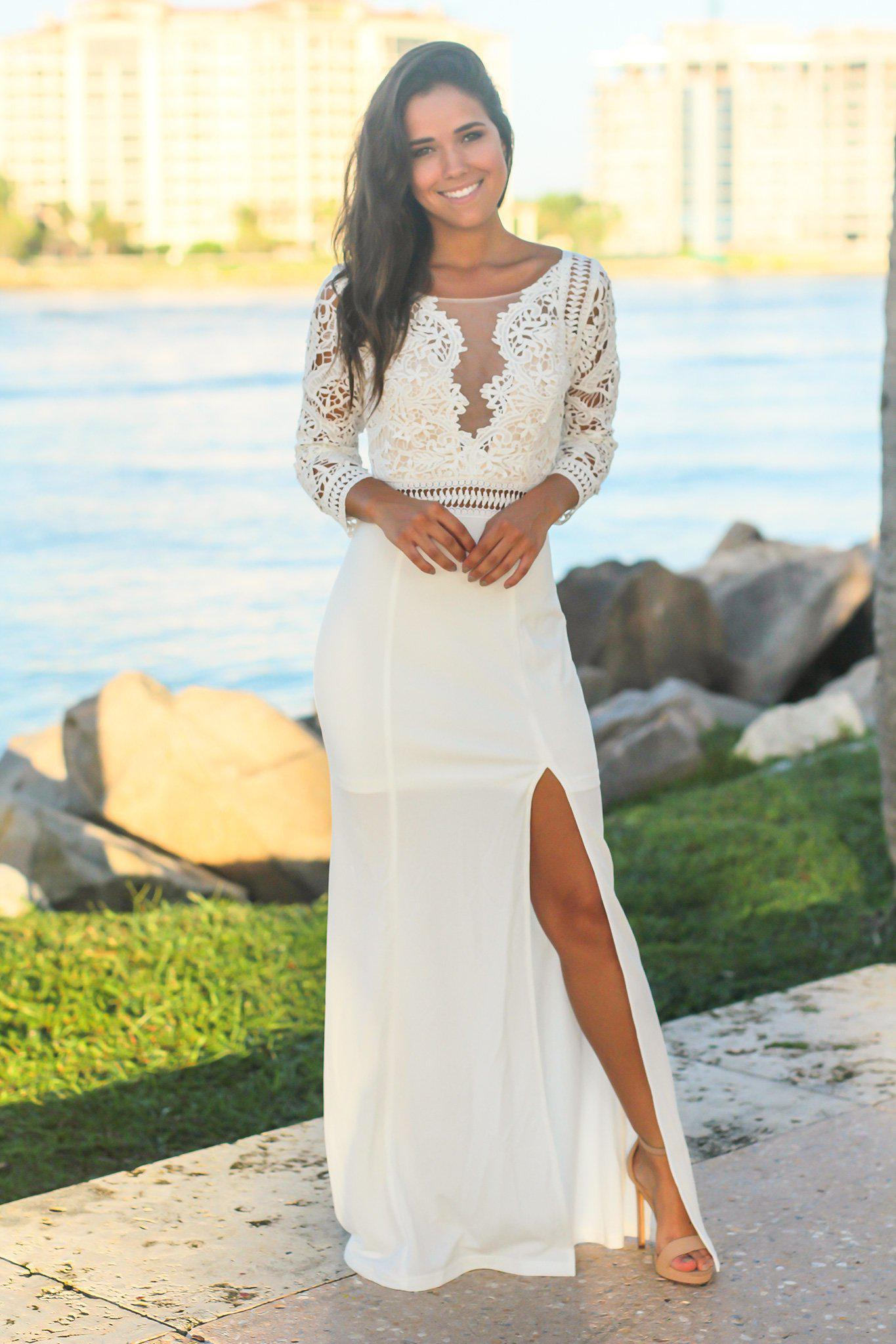Ivory Crochet Top Maxi Dress With 34 Sleeves And Side Slit Maxi