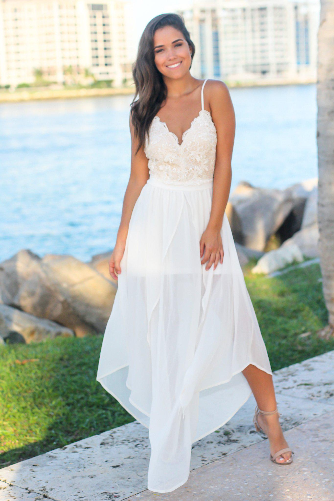 Ivory Crochet Top Maxi Dress with Open Back and Slits