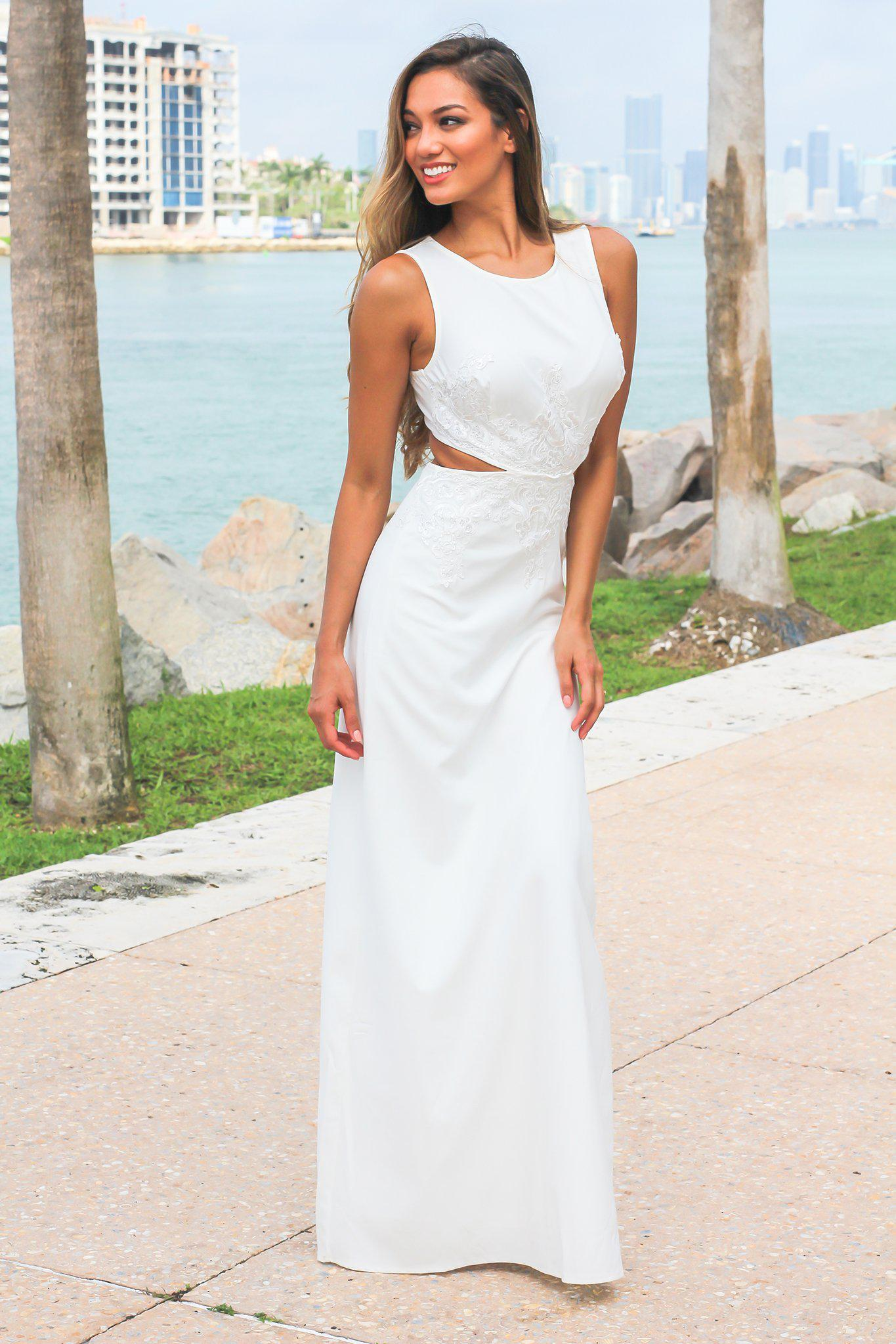 Ivory Cut Out Maxi Dress