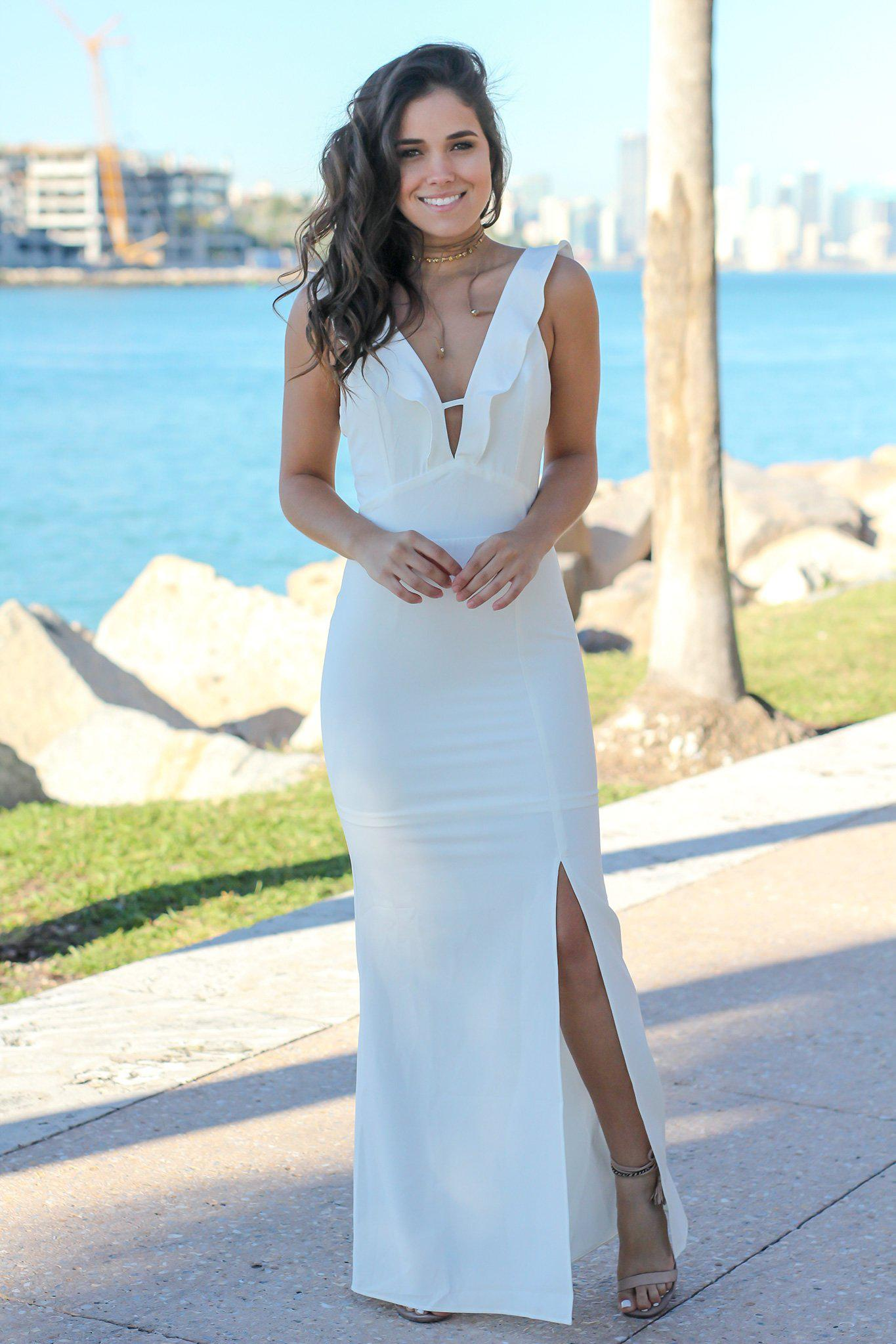 0cffb374f8e Ivory V-Neck Maxi Dress with Ruffle Detail