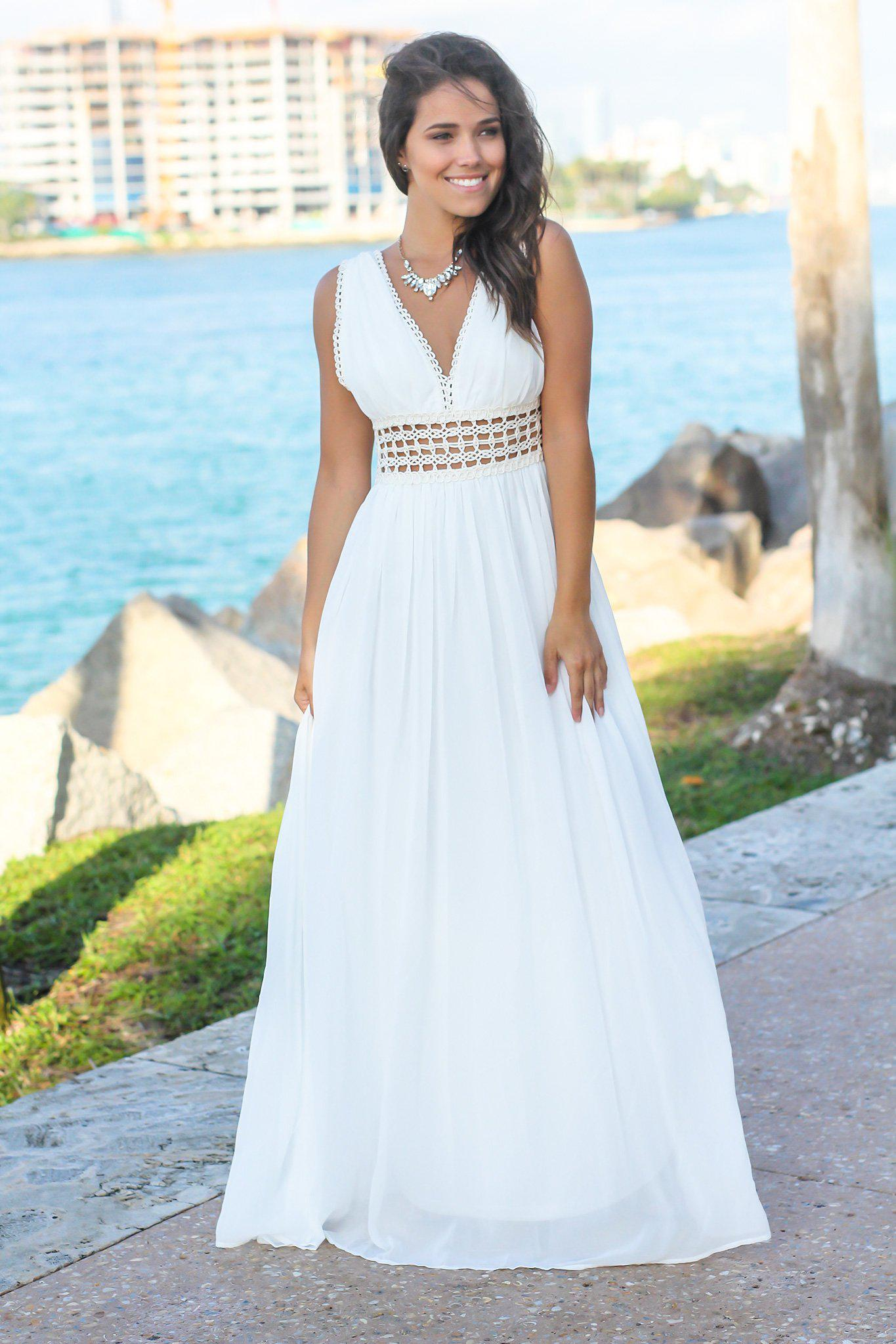ef29c4ef8a Ivory Maxi Dress with Crochet Details | Maxi Dresses – Saved by the ...