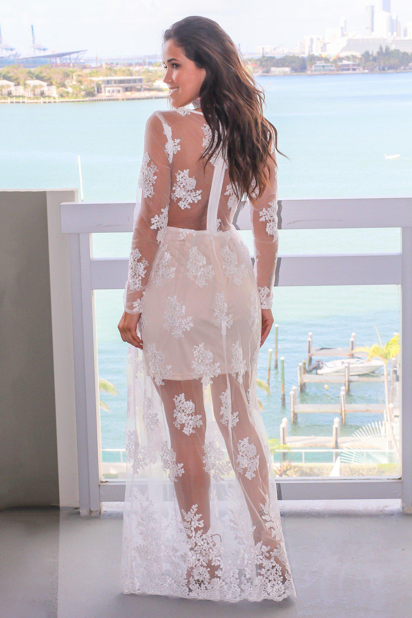 1a8894805f15 Ivory Embroidered Maxi Dress with Long Sleeves; Beautiful Dresses; Maxi  Dresses; Ivory Dresses