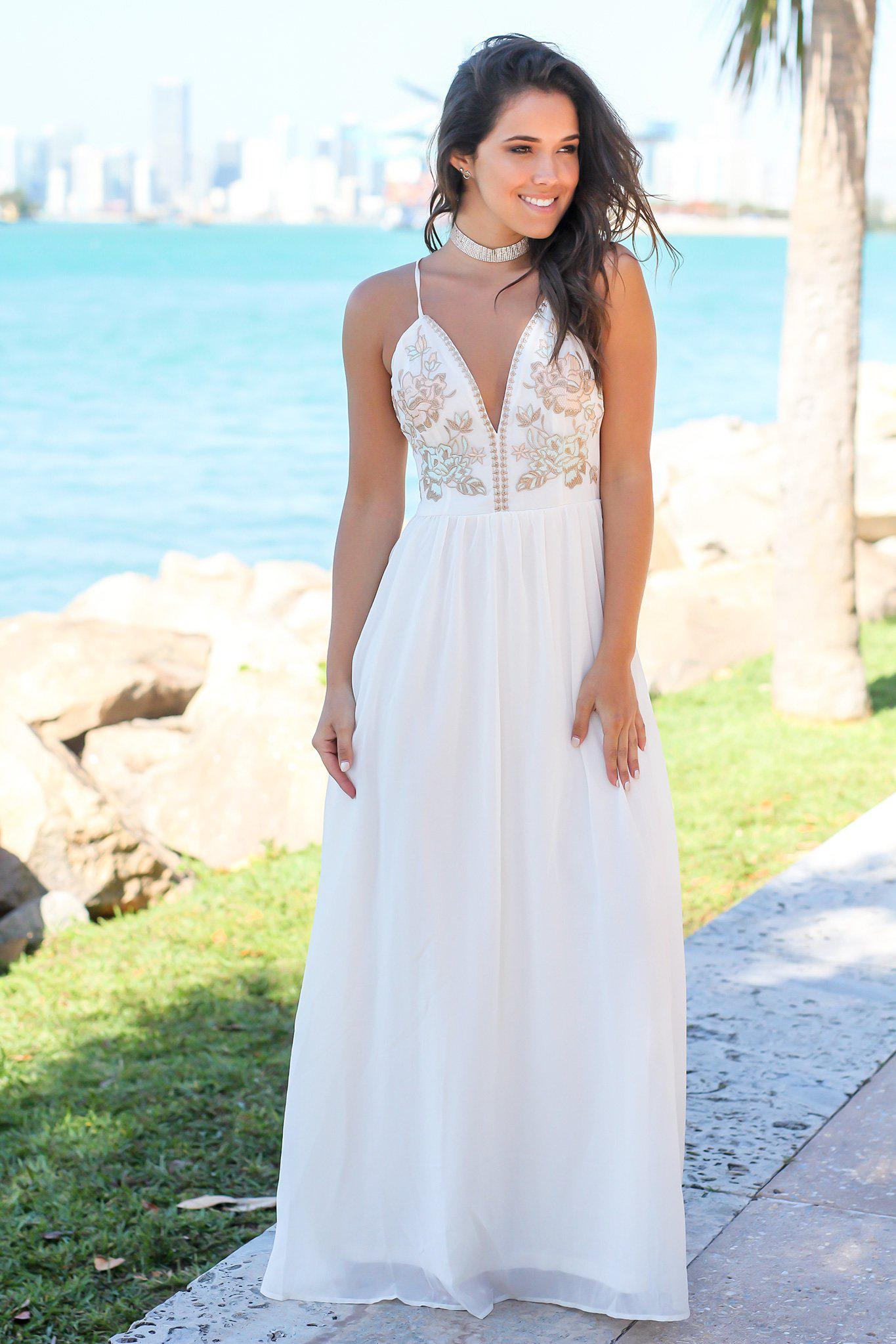 60fbe2f432e7 Ivory Maxi Dress with Embroidered Top and Criss Cross Back | Maxi ...