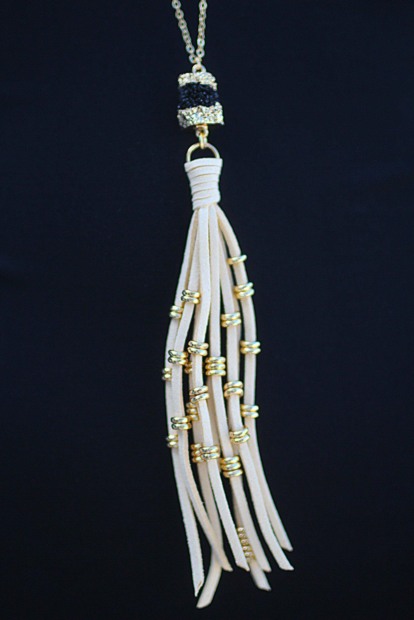 Ivory Druzy Necklace with Tassel