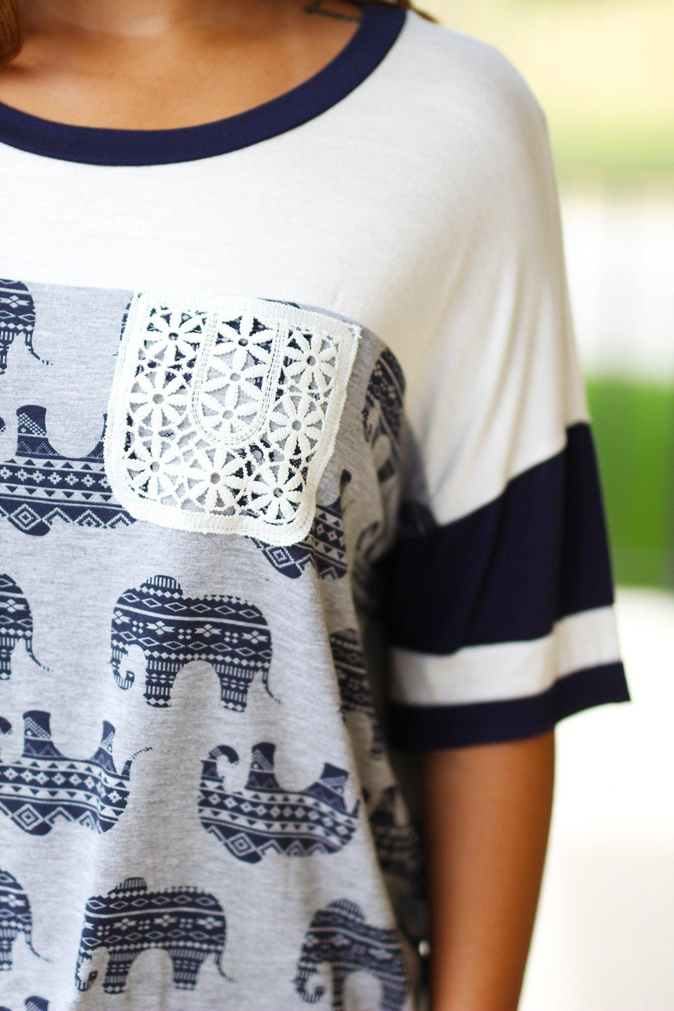Ivory Elephant Top with Crochet Pocket