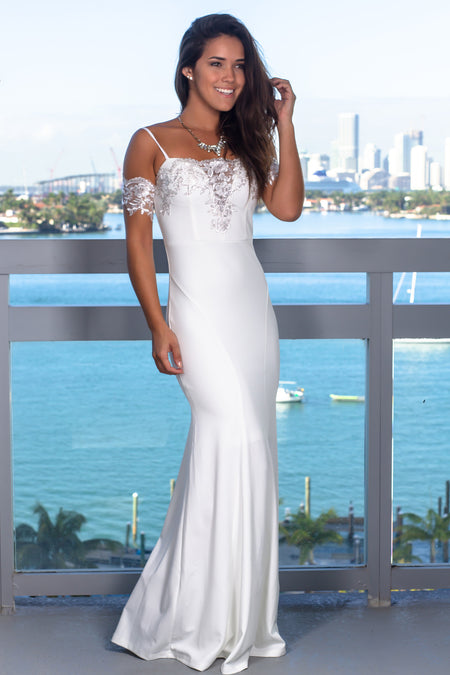 Ivory Embroidered Top Maxi Dress