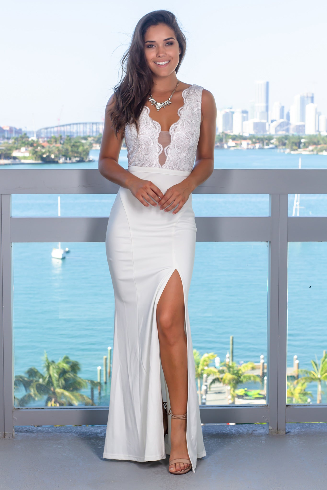 Ivory Embroidered Top Maxi Dress with Side Slit