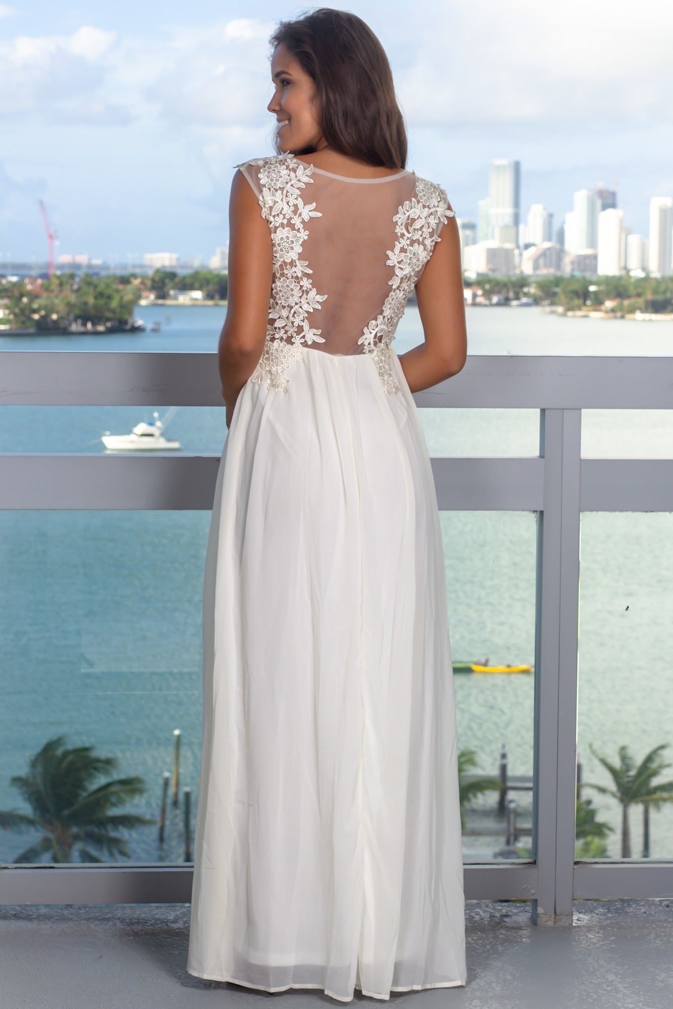 Ivory Embroidered Top Maxi Dress with Tulle Back