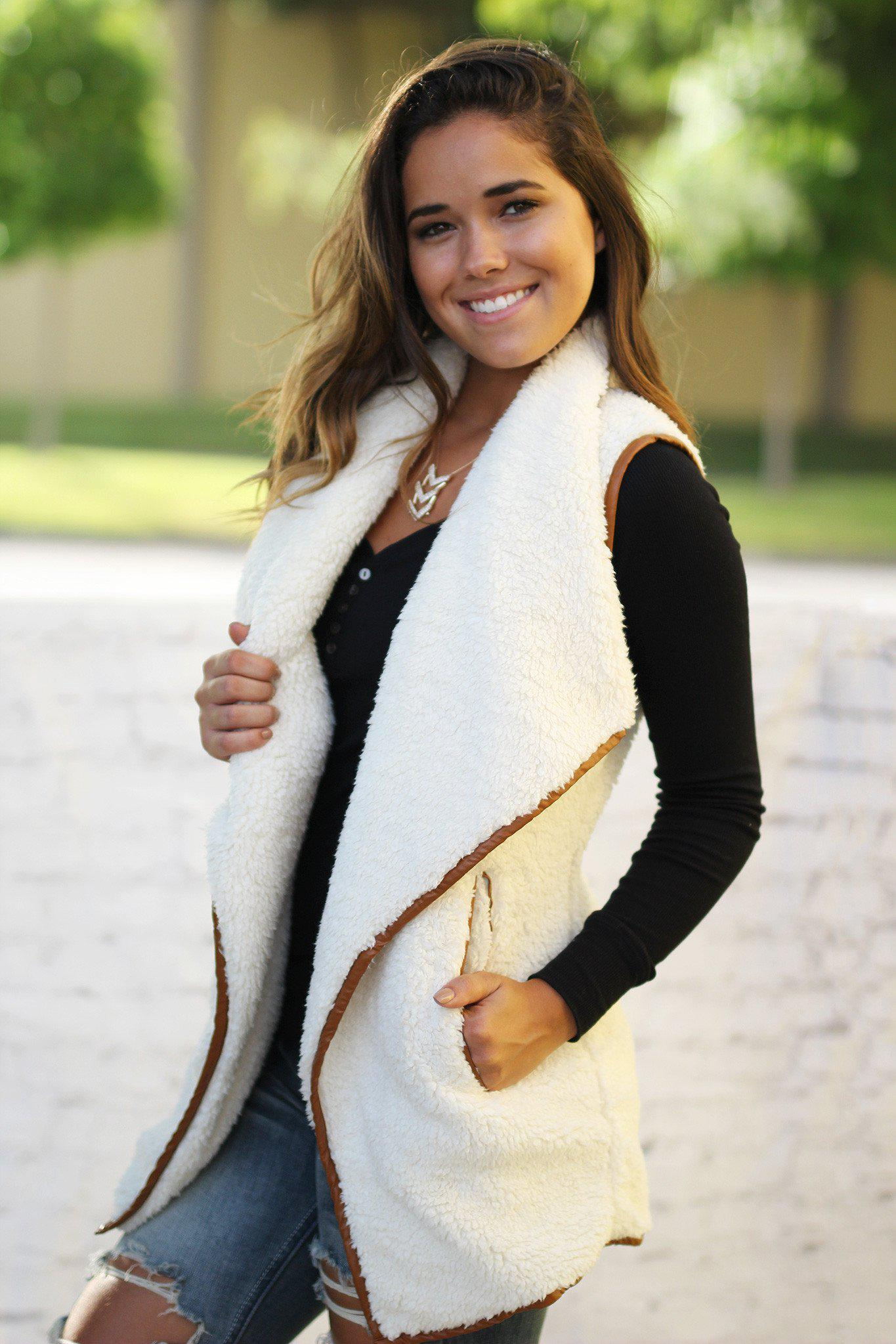 ivory faux fur vest with pockets