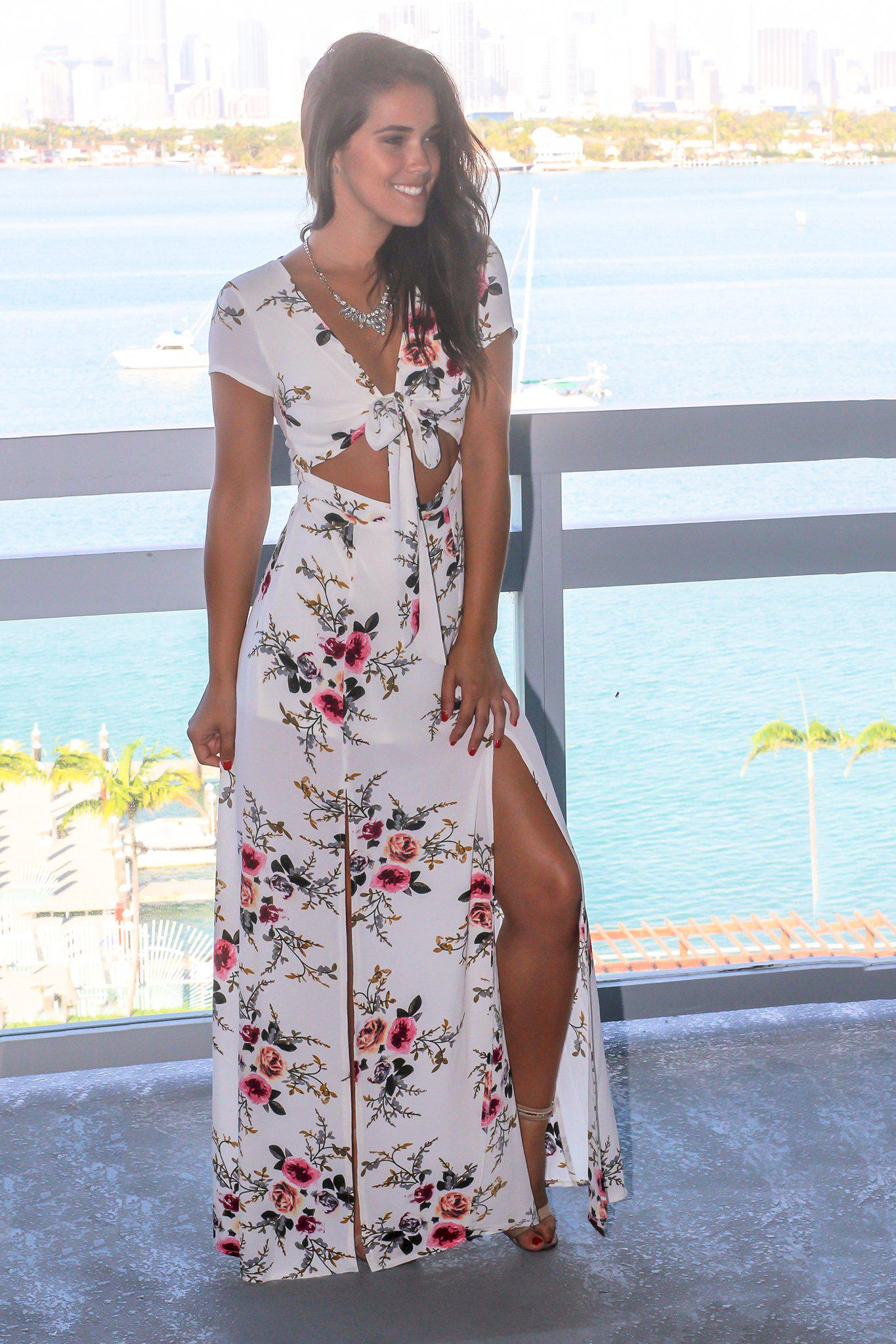 Ivory Floral Cut Out Maxi Dress with Side Slits