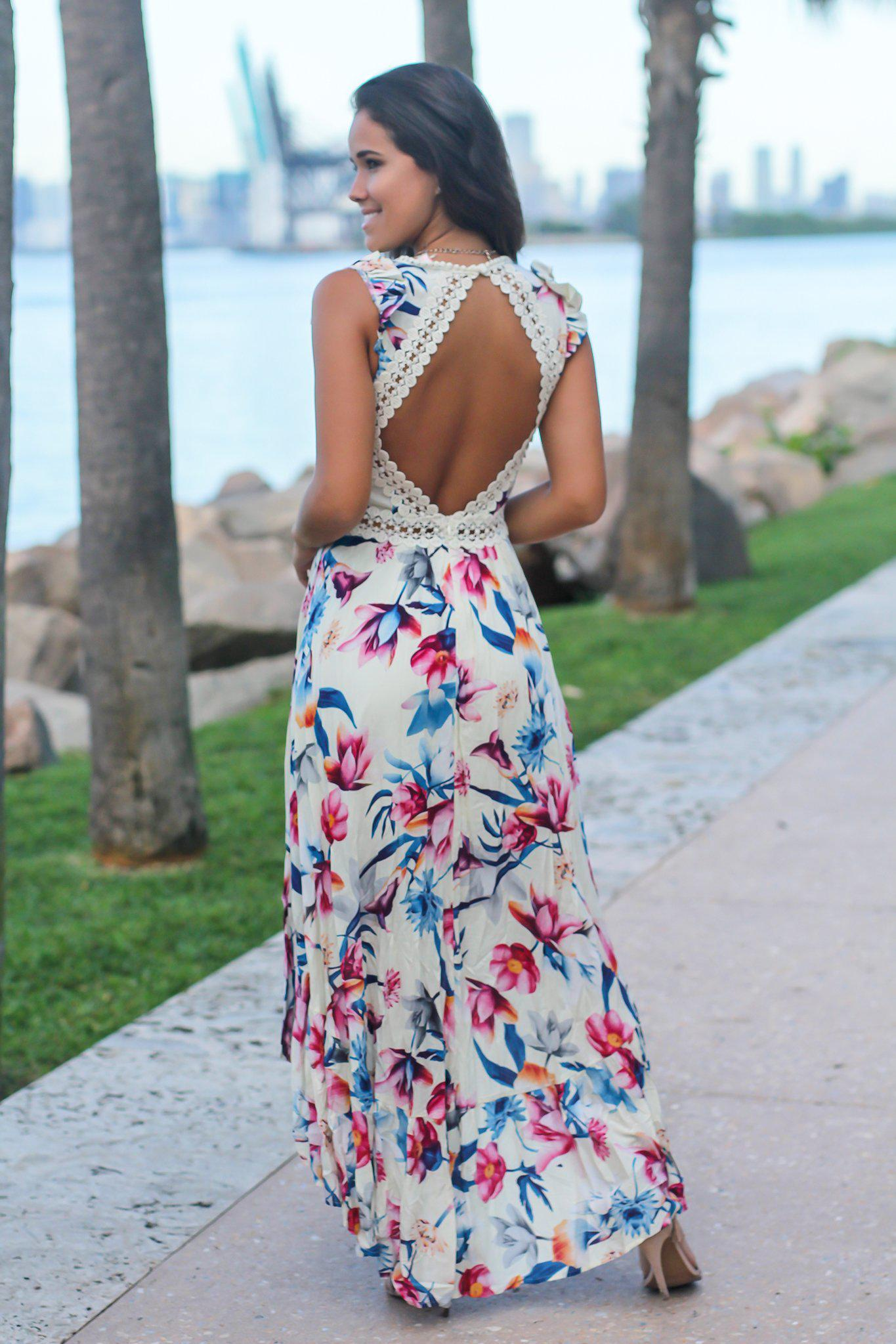 Ivory Floral High Low Dress with Crochet Open Back Detail