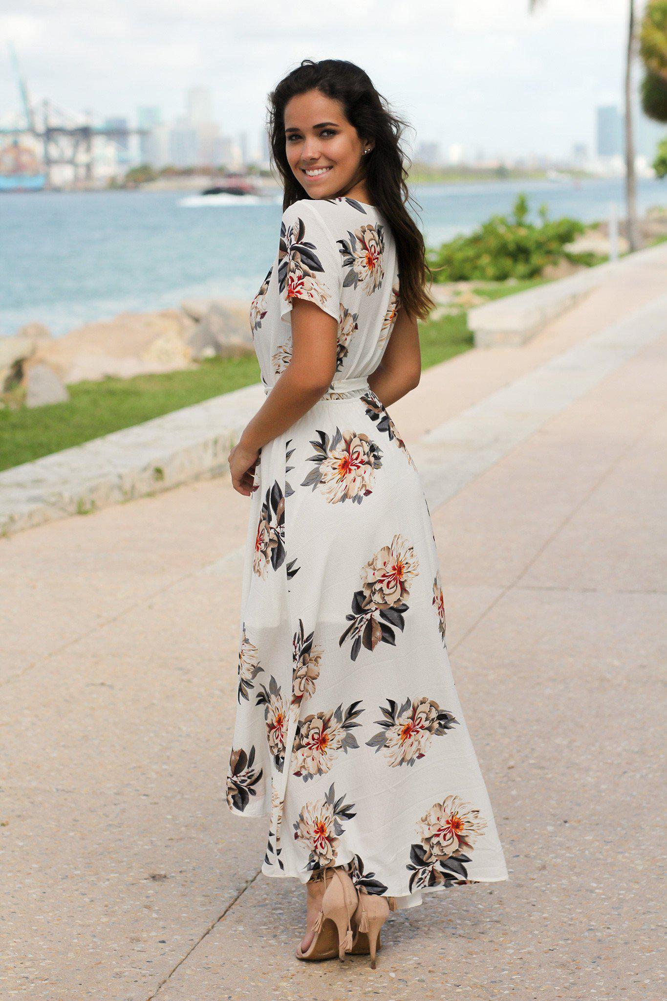 Ivory Floral High Low Wrap Dress
