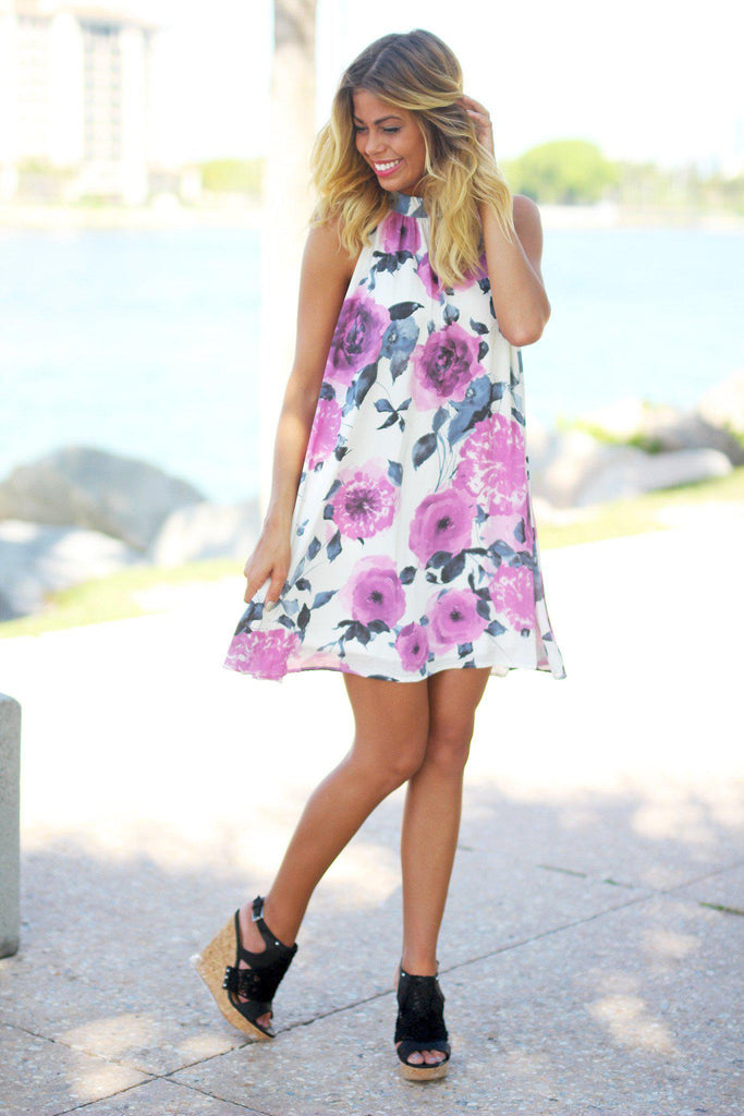 ivory floral high neck short dress