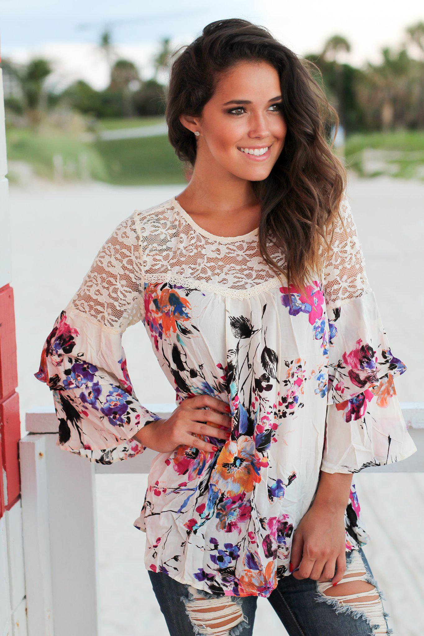 Ivory Floral Lace Top with Bell Sleeves