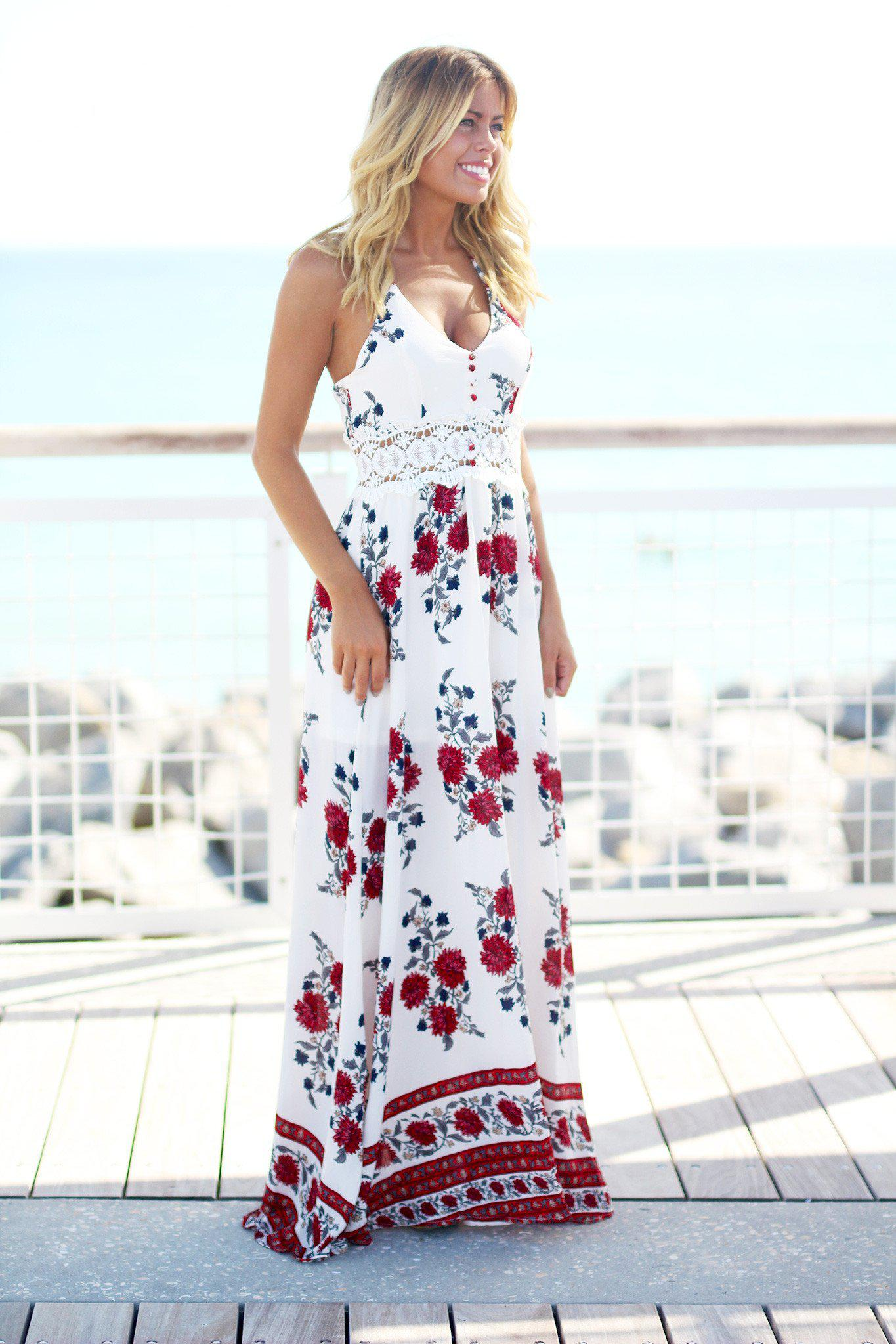 Ivory Floral Maxi Dress with Crochet Detail