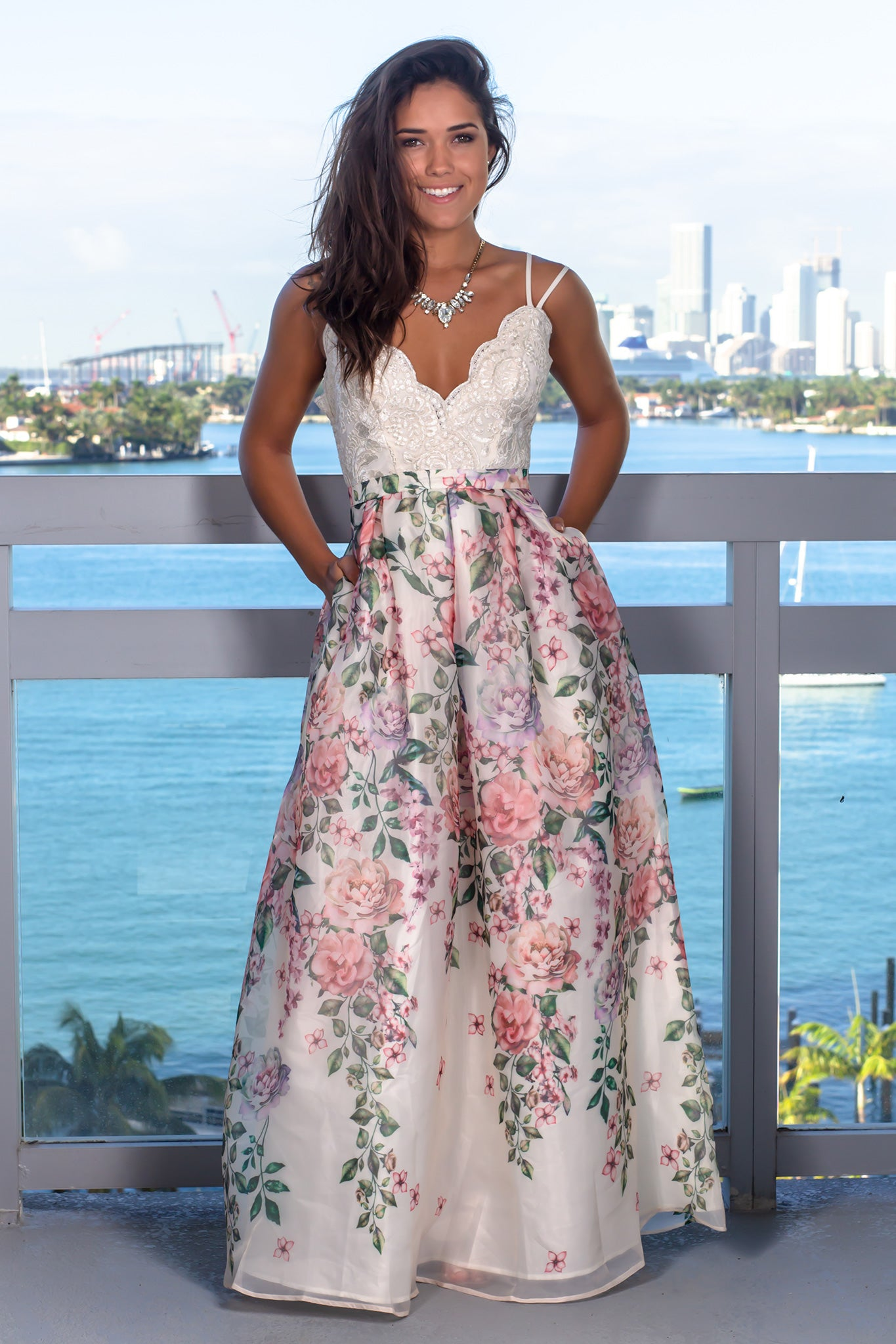 Ivory Floral Maxi Dress with Embroidered Top