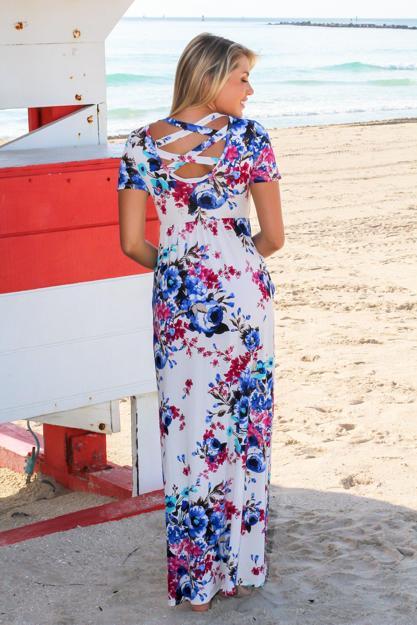 Ivory Floral Maxi Dress with Short Sleeves and Criss Cross Back