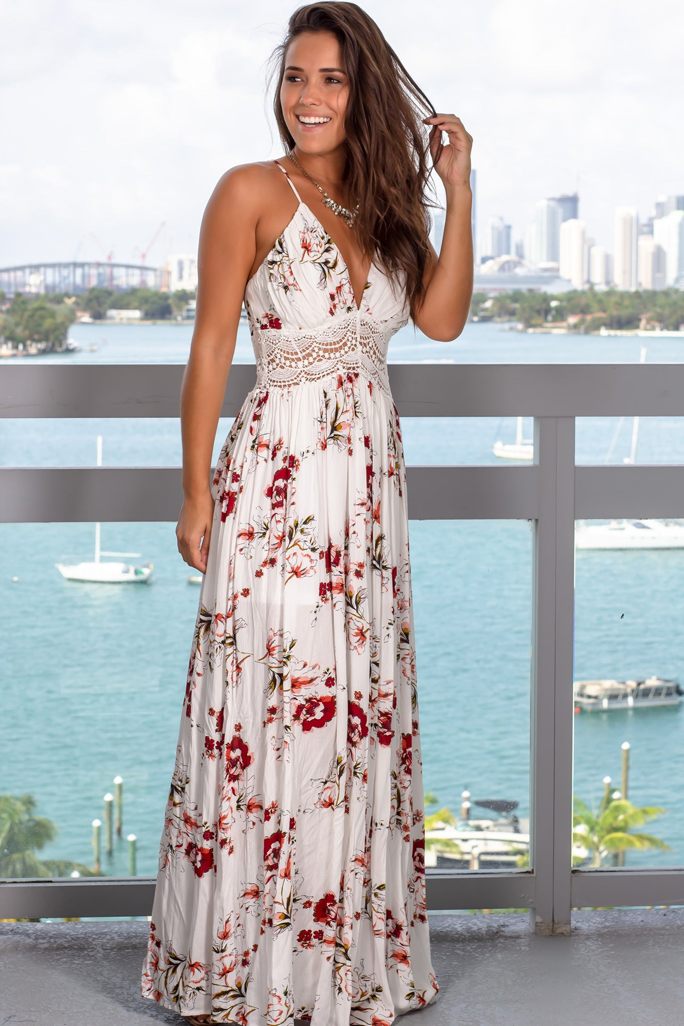 Ivory Floral Maxi Dress with Tie Back