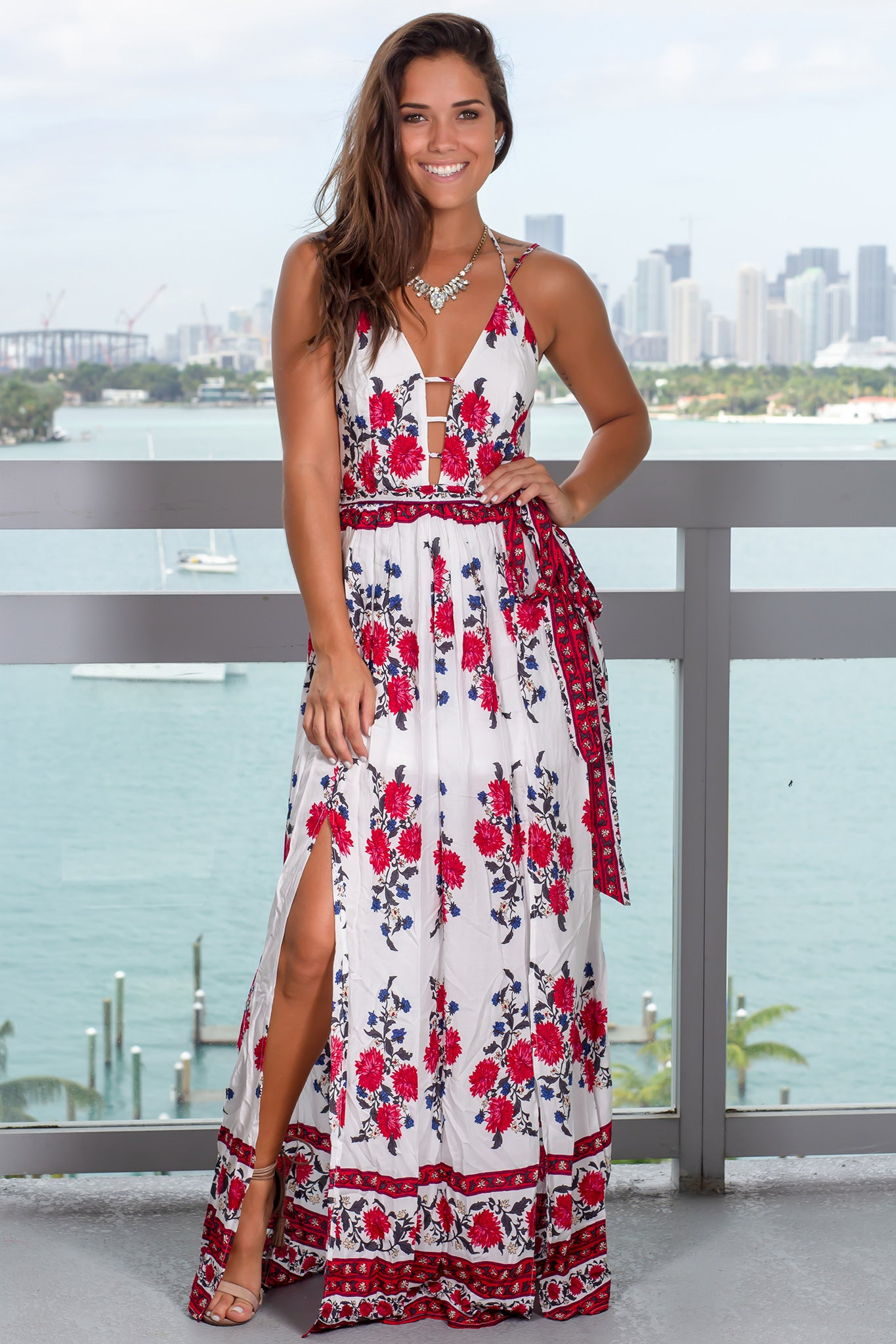 Ivory Floral Maxi Dress with Tie Waist