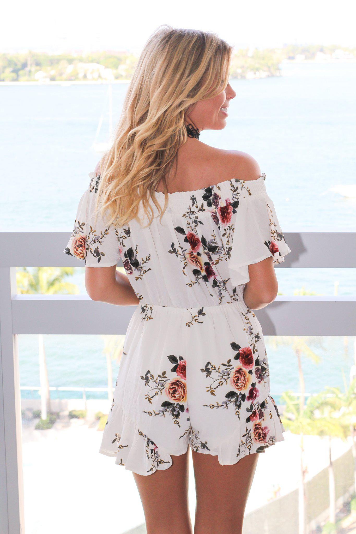 Ivory Floral Off Shoulder Romper