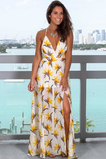 Ivory Floral Printed Maxi Dress with Side Slit