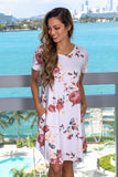 Ivory Floral Printed Short Dress with Pockets