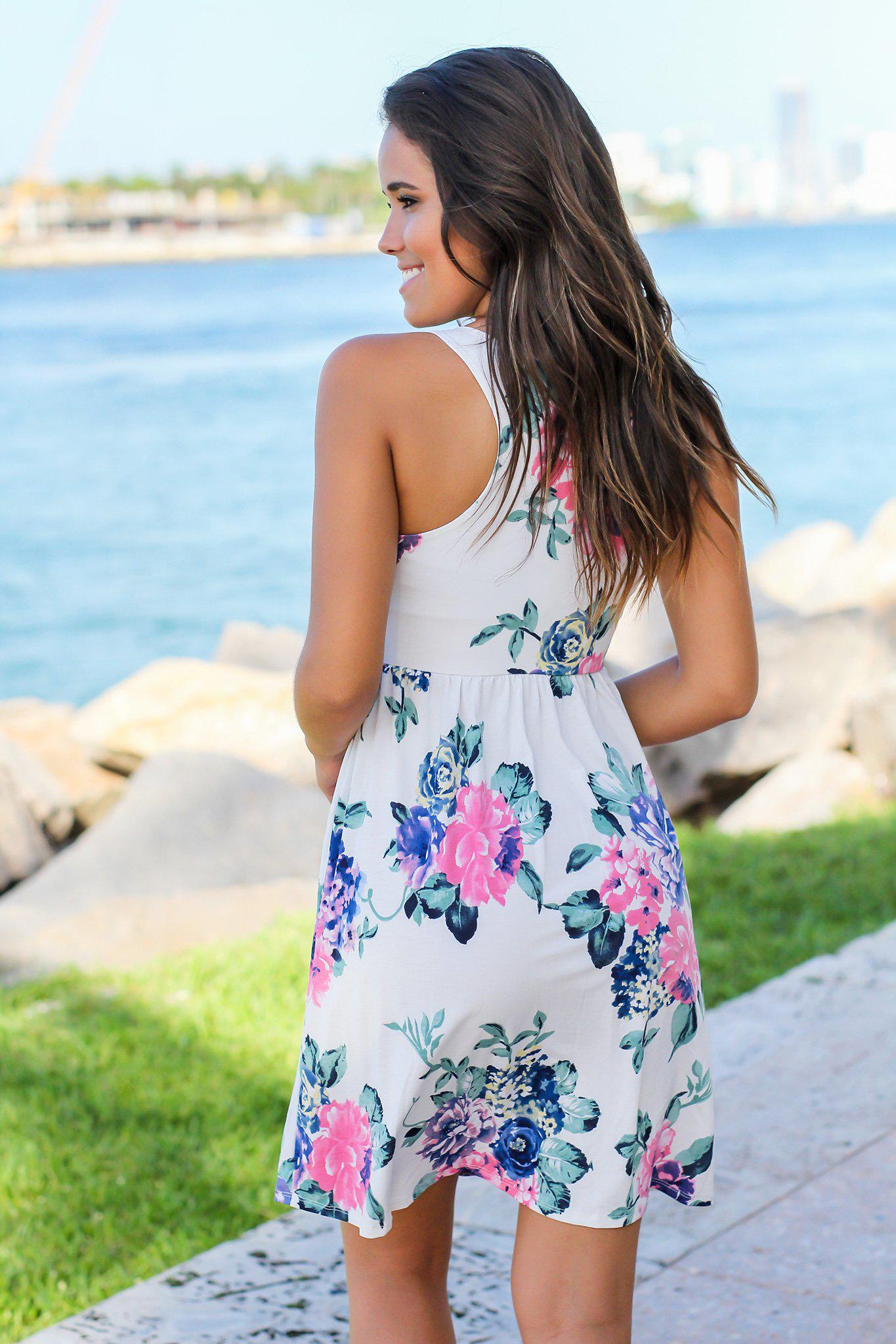 Ivory Floral Racerback Short Dress
