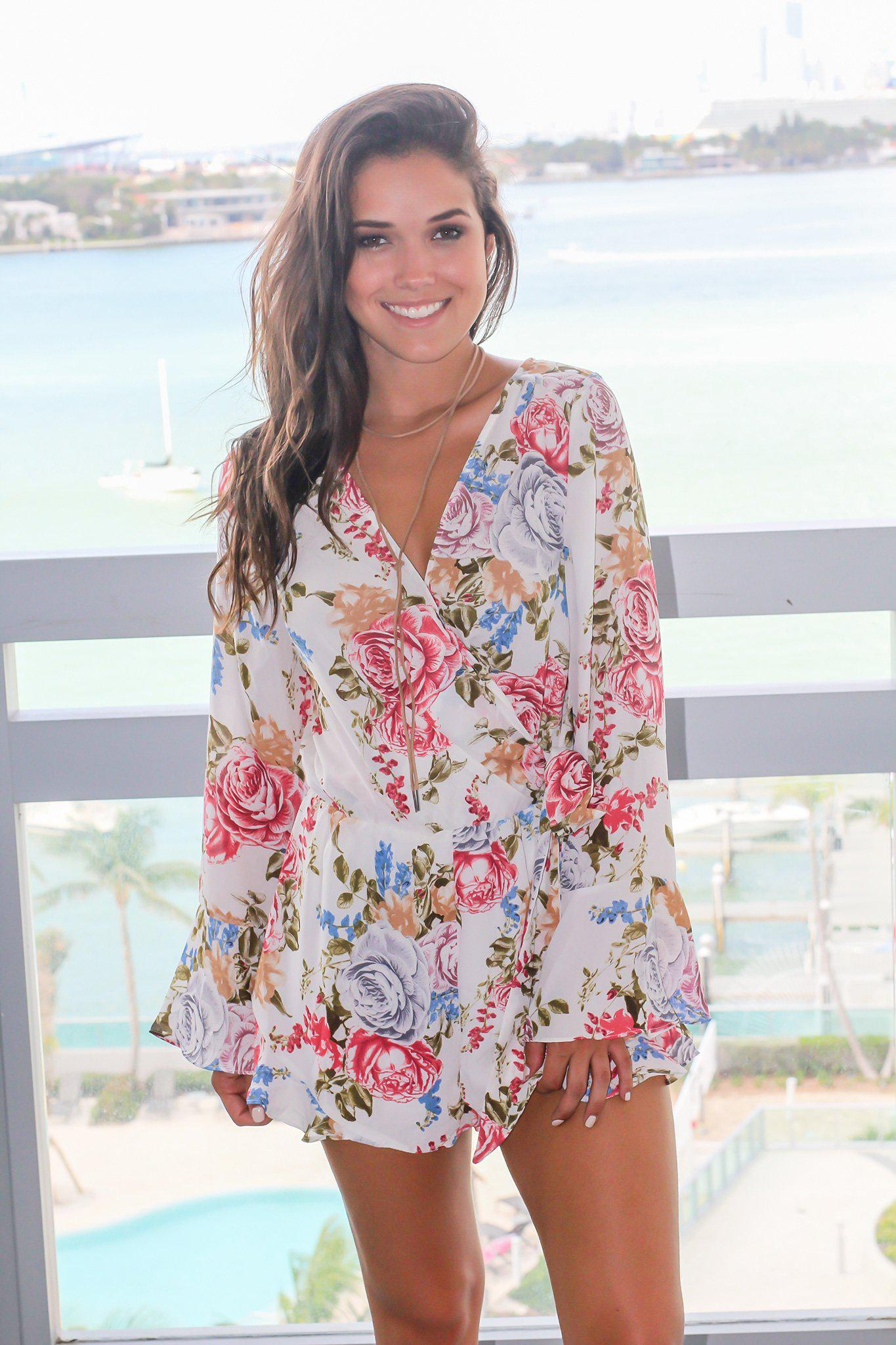 Ivory Floral Romper with Tie Waist