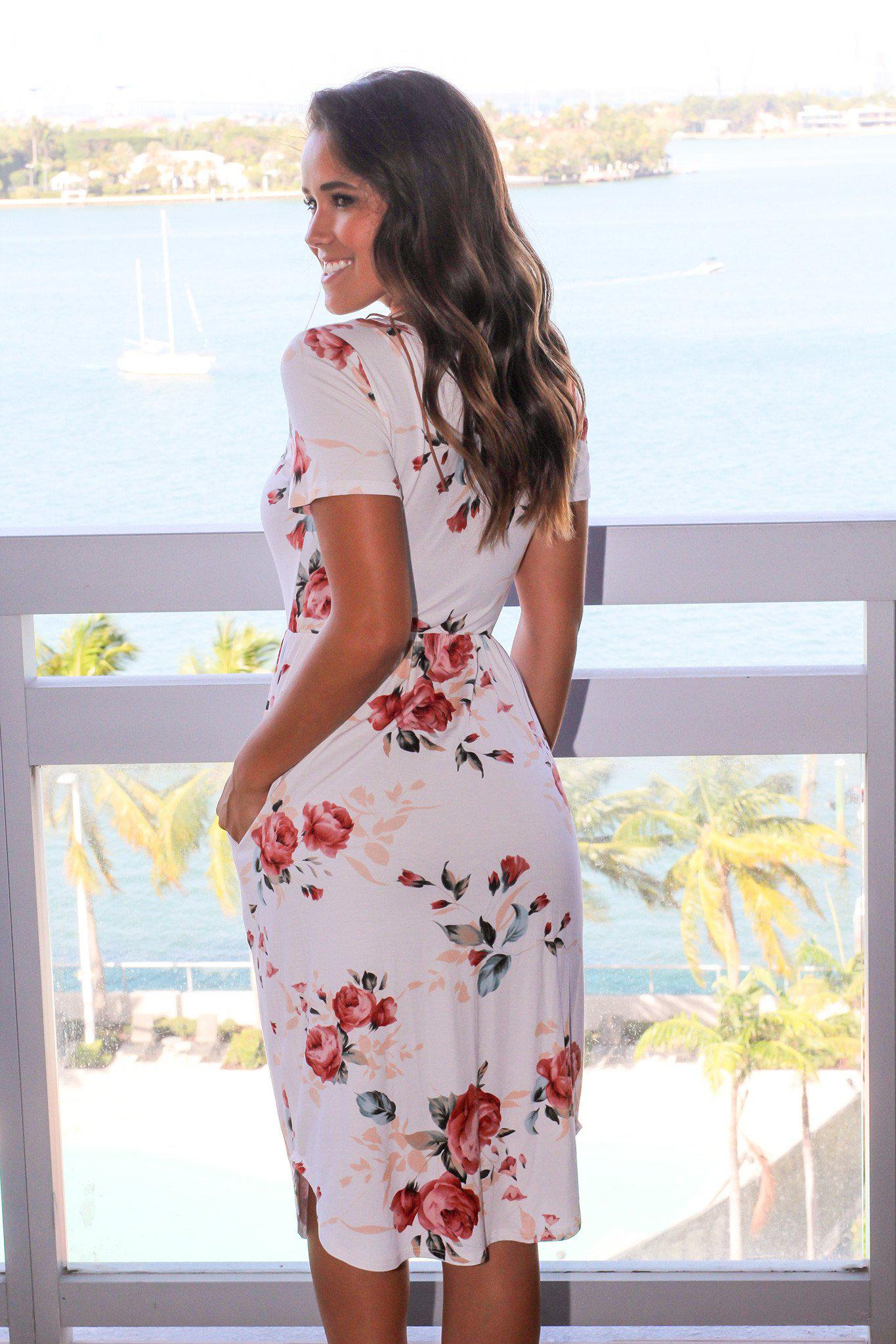 Ivory Floral Short Dress with Pockets