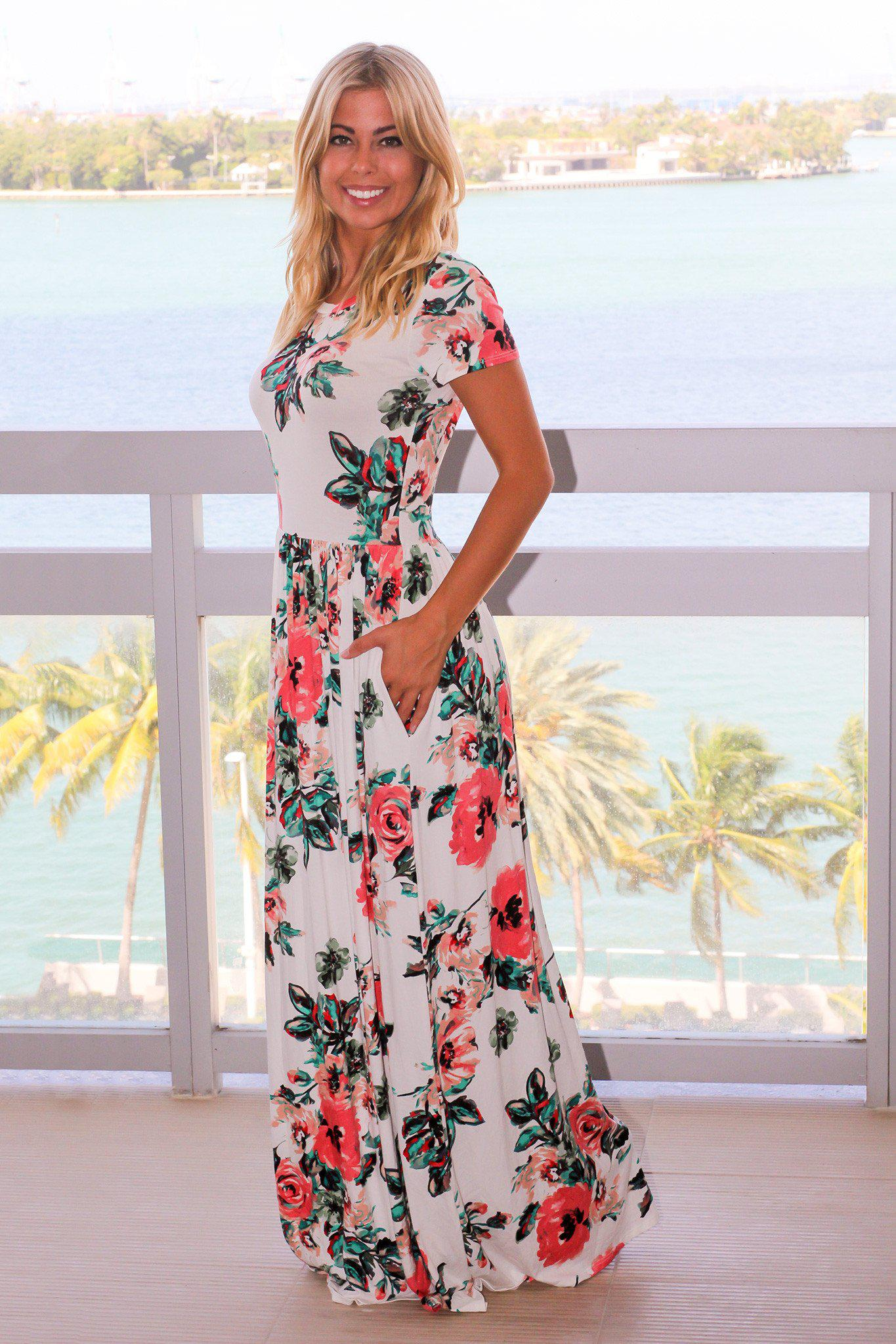 Ivory Floral Short Sleeve Maxi Dress with Pockets