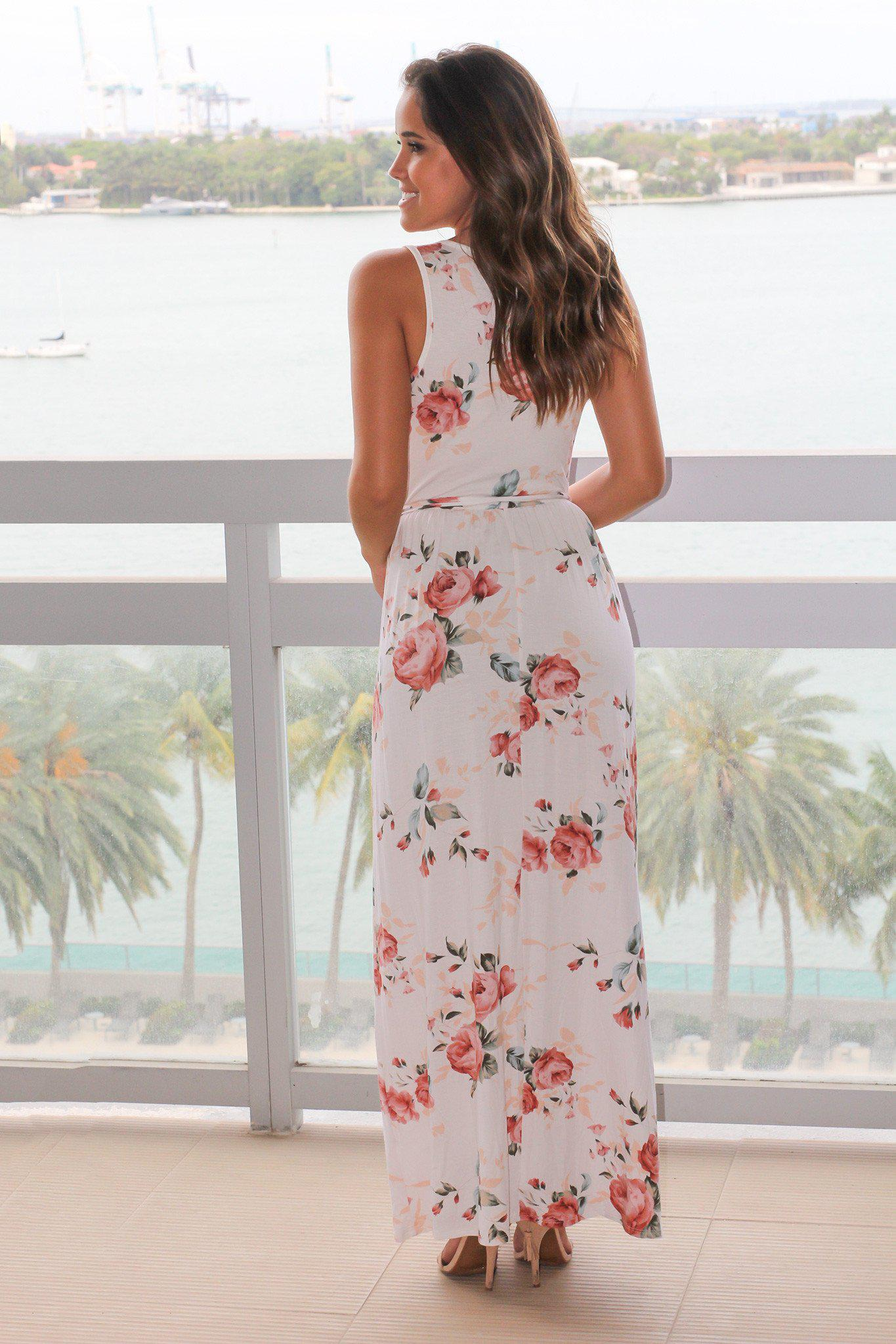 Ivory Floral Sleeveless Maxi Dress