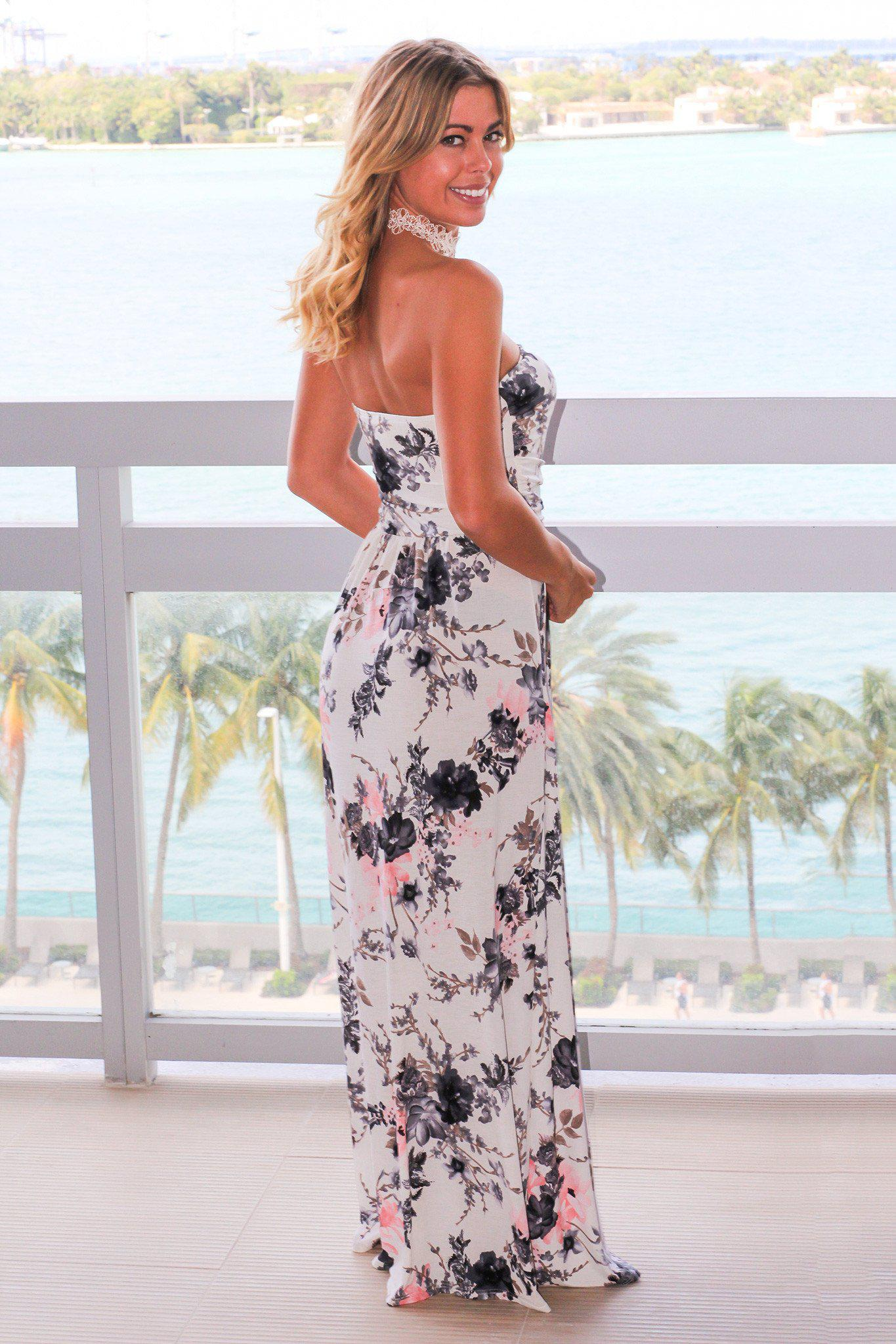 Ivory Floral Strapless Maxi Dress