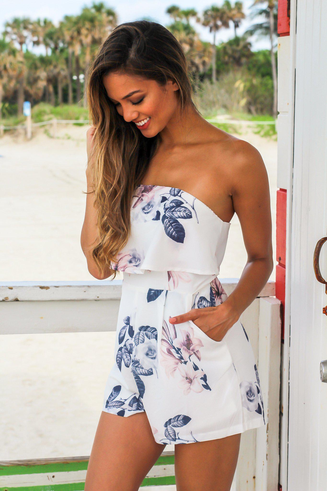 Ivory Floral Strapless Romper
