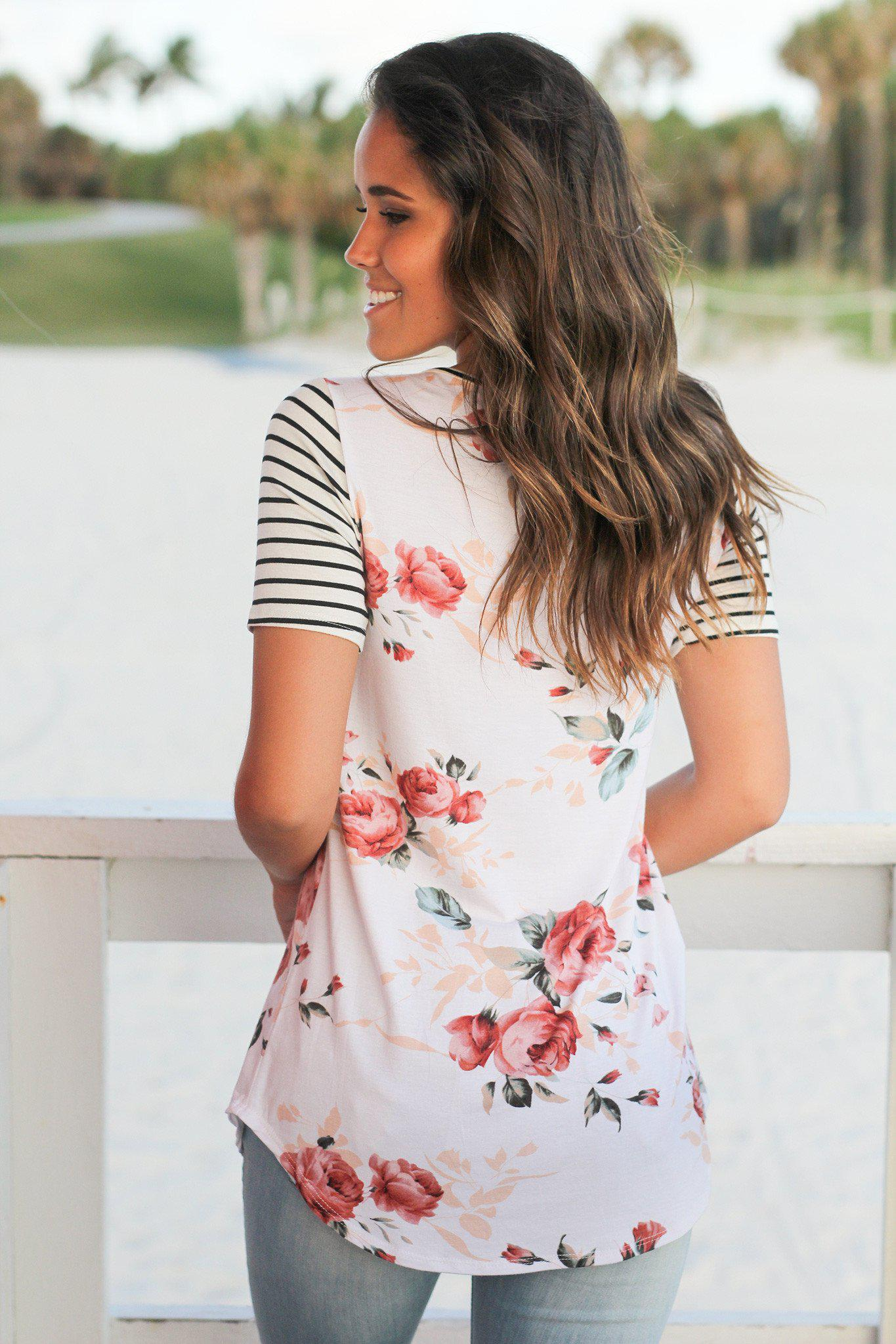 Ivory Floral Striped Criss Cross Top