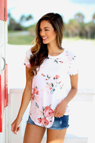 Ivory Floral Tee