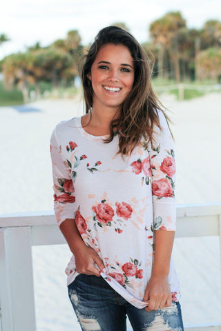 Ivory Floral Top with 3/4 Sleeves